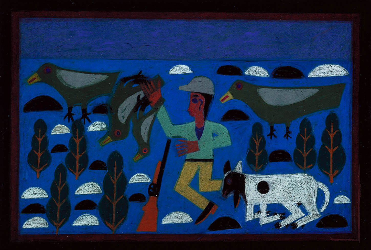 Hunter with Dog and Four Birds by Eddie Arning