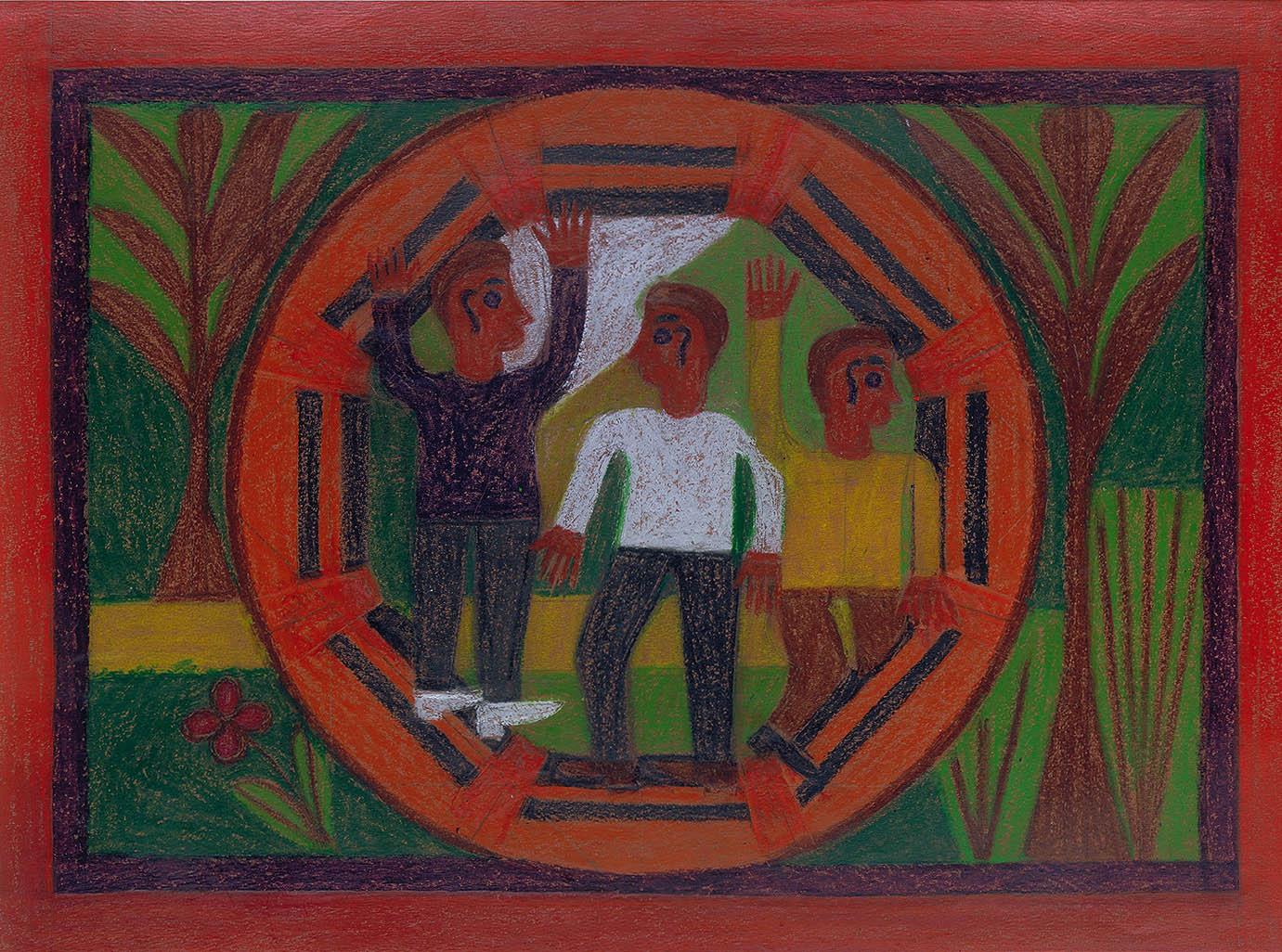 Three Men in a Circle by Eddie Arning